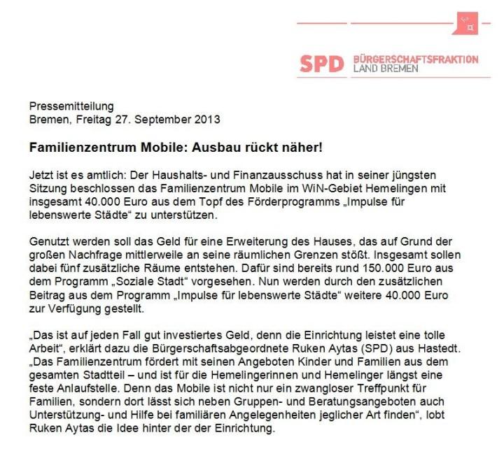 Pressemitteilung - Ruken Aytas - SPD Bremen