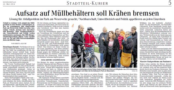 Hemelingen · Hastedt. Sobald es wärmer wird, nimmt das Müllproblem in den Bremer Grünanlagen zu. Der im letzten Jahr eingeweihte Park am Weserwehr bildet da keine Ausnahme. Schade, wie viele Anwohner